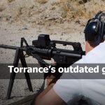 Man aiming machine gun at firing range Torrance